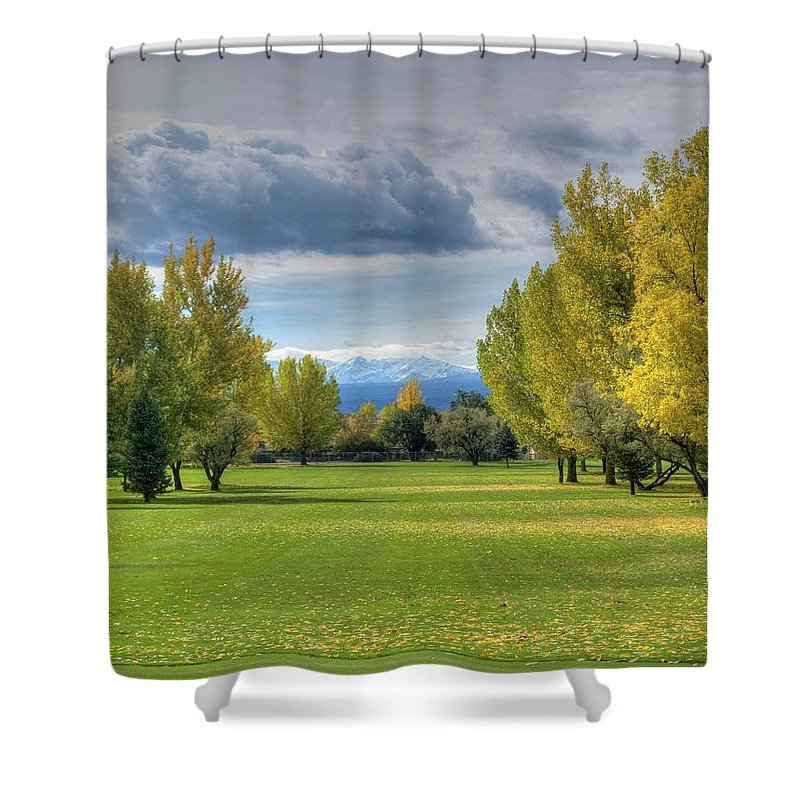 Golf Course Shower Curtain featuring the photograph 7th Fairway by Linda Weyers
