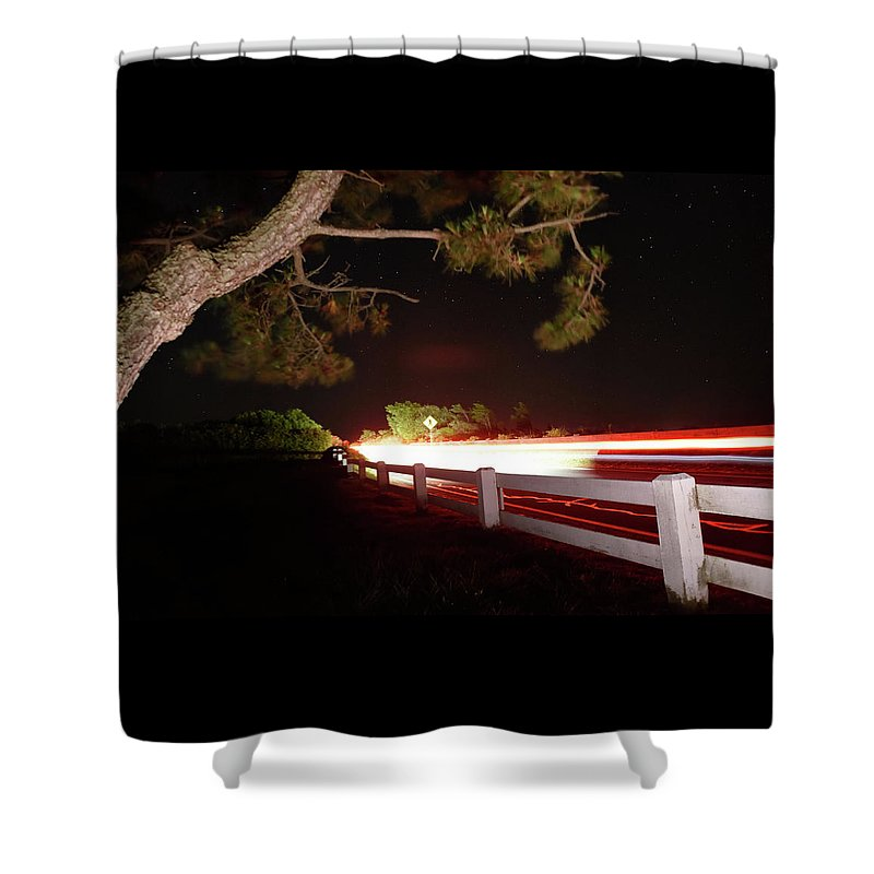 Don't Drop The Crystal Ball Shower Curtain featuring the photograph 8-8-16--7126 Cruzin The Back Road, Don't Drop The Crystal Ball by Vicki Hall