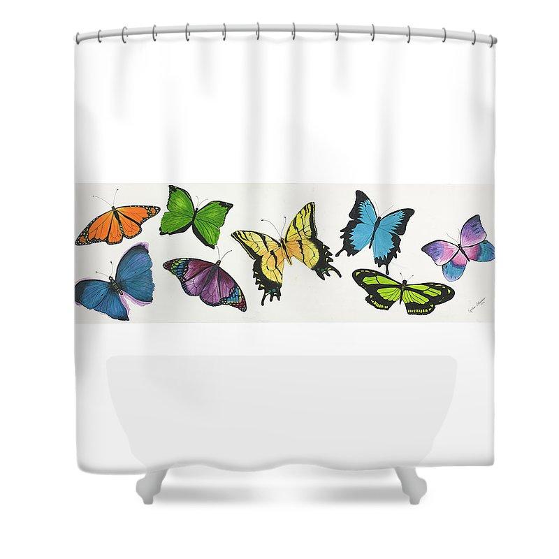 Butterflies Shower Curtain featuring the painting 8 Butterflies by Cynthia Schumann
