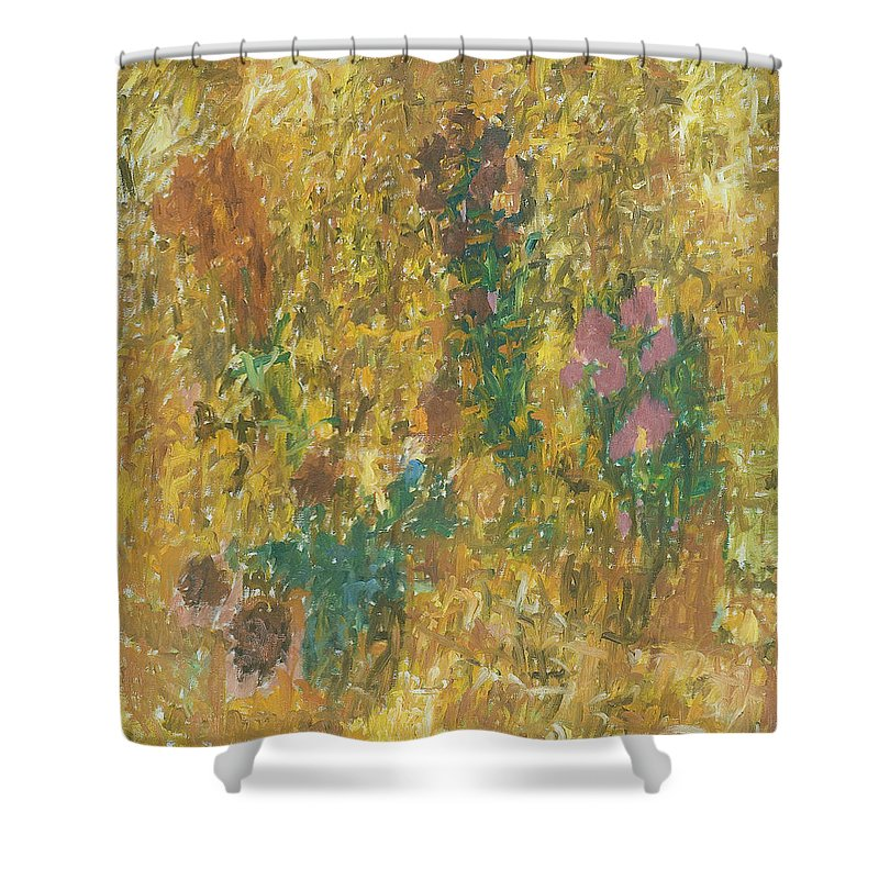 Bouquet Shower Curtain featuring the painting Flowers by Robert Nizamov