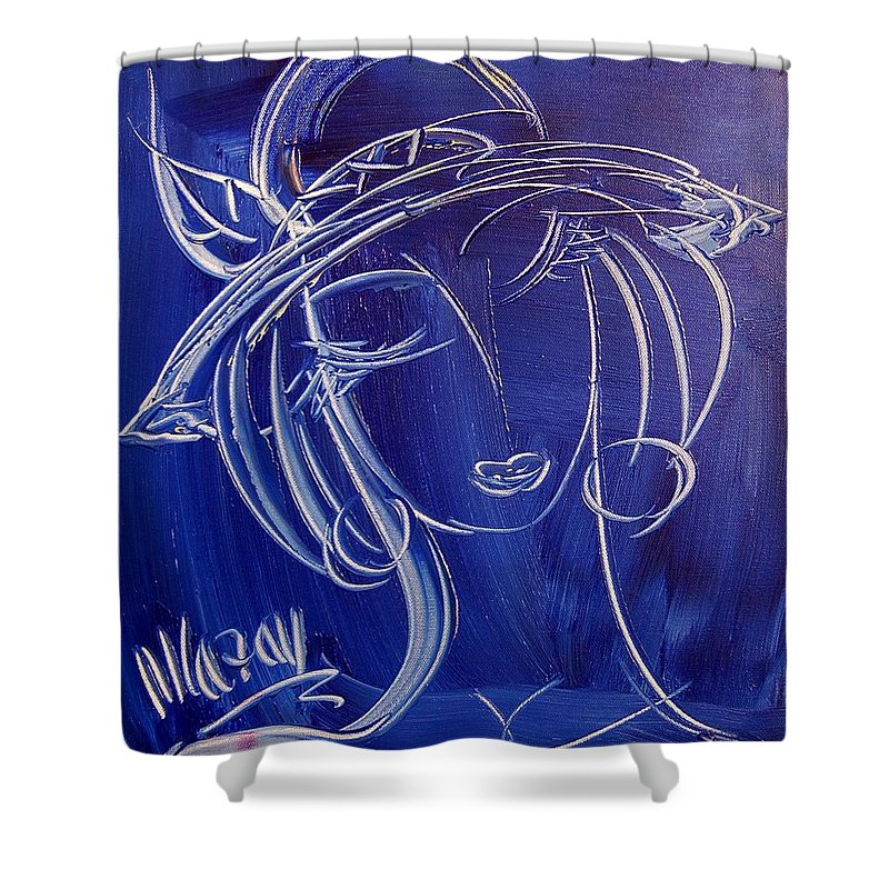 Shower Curtain featuring the painting Girl by Mark Kazav
