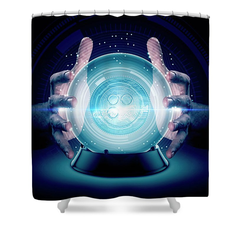 Omisego Shower Curtain featuring the digital art Hands On Crystal Ball And Cryptocurrency by Allan Swart