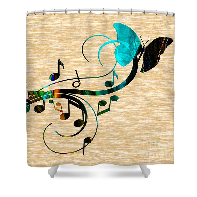 Music Shower Curtain featuring the mixed media Music Flows Collection by Marvin Blaine