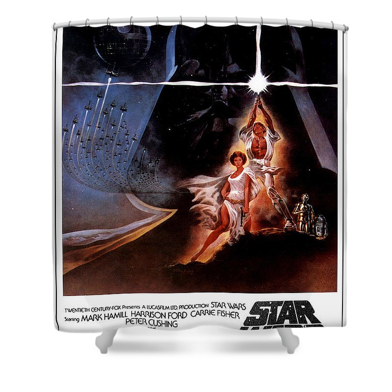 Star Wars Shower Curtain featuring the digital art Star Wars Episode IV - A New Hope 1977 by Geek N Rock