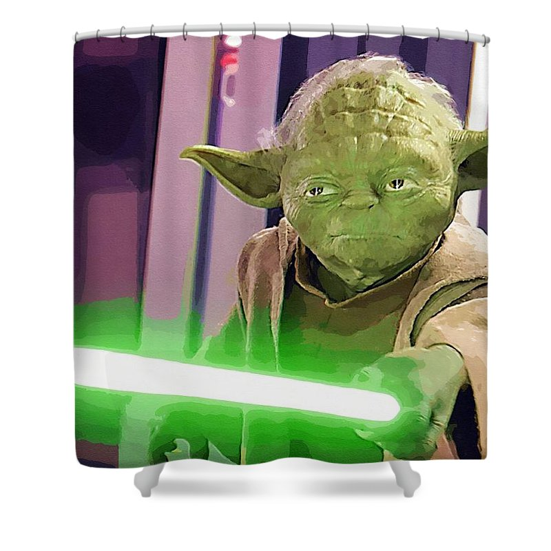 Star Wars Characters Shower Curtain featuring the digital art Star Wars Galactic Heroes Poster by Larry Jones