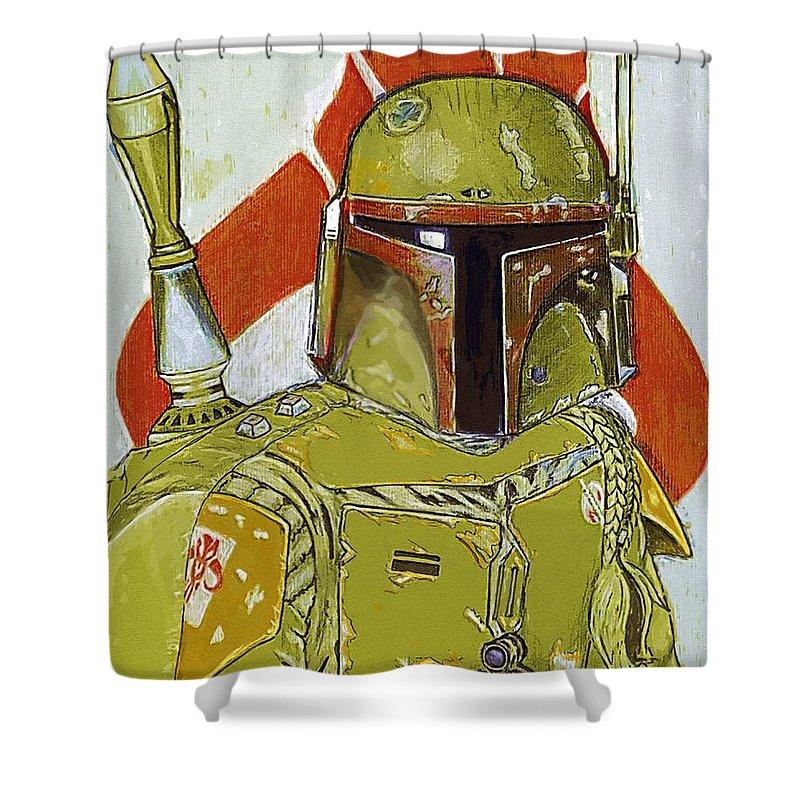 Star Wars Yoda Shower Curtain featuring the digital art Star Wars The Trilogy Art by Larry Jones