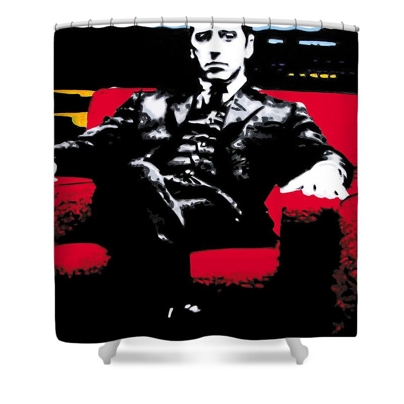 Al Pacino Shower Curtain featuring the painting The Godfather by Luis Ludzska