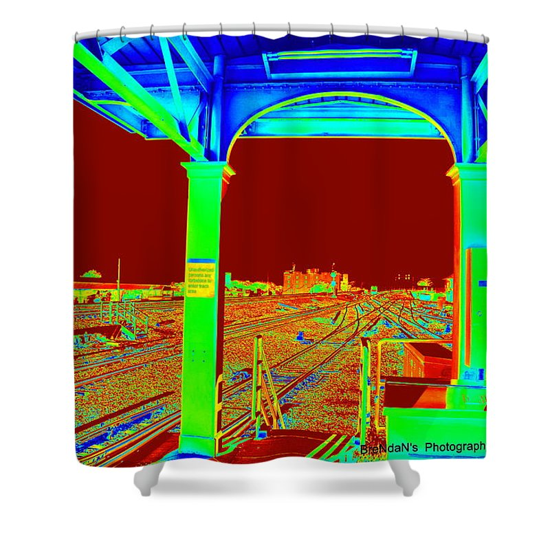 Tracks Shower Curtain featuring the photograph Train Station Series by Rhona Lawrence