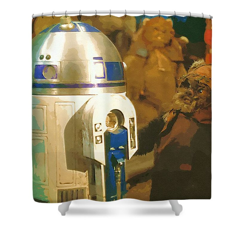 Star Wars Yoda Shower Curtain featuring the digital art Video Star Wars Poster by Larry Jones
