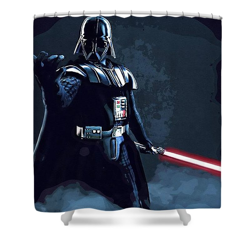 Star Wars Darth Vader Shower Curtain featuring the digital art Wars Star Art by Larry Jones