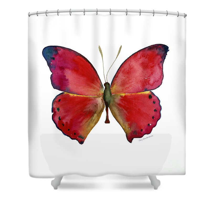 Red Butterfly Shower Curtain featuring the painting 83 Red Glider Butterfly by Amy Kirkpatrick