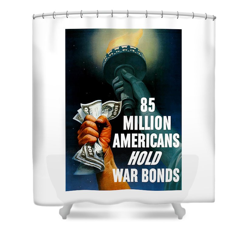 Statue Of Liberty Shower Curtain featuring the painting 85 Million Americans Hold War Bonds by War Is Hell Store