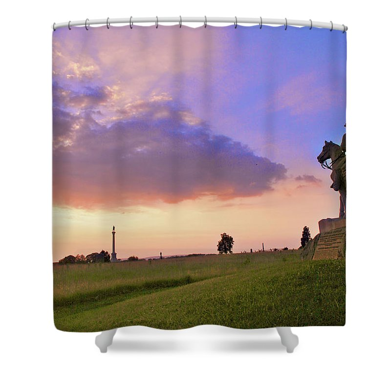 Civil War Shower Curtain featuring the photograph 8th Pa Cavalry by Jen Goellnitz