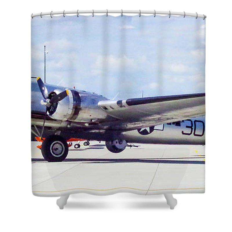 B-17 Bomber Shower Curtain featuring the photograph B-17 Bomber Parking by Mike Wheeler