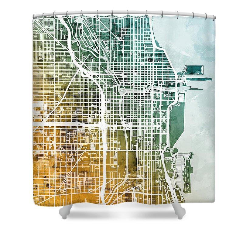 Chicago Shower Curtain Featuring The Digital Art City Street Map By Michael Tompsett