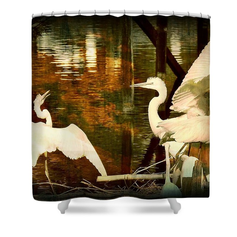 Bird Shower Curtain featuring the photograph 9 Egrets by Leslie Revels