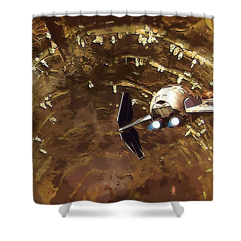 Star Wars For Shower Curtain featuring the digital art Episode 1 Star Wars Poster by Larry Jones