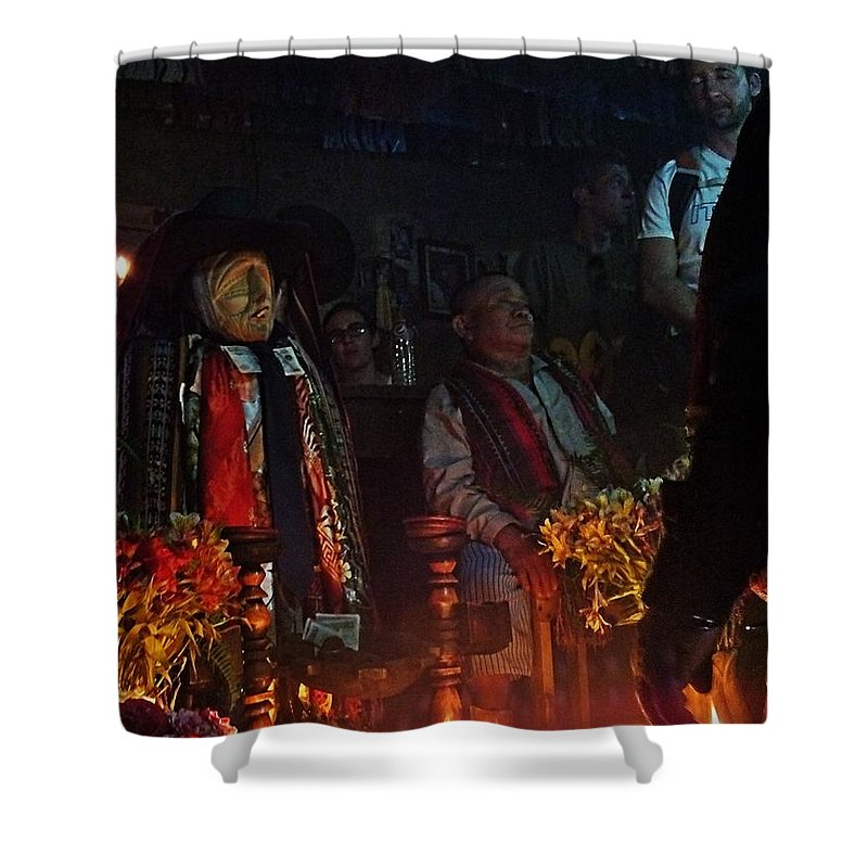 Portrait Shower Curtain featuring the photograph Mayan Ceremony by Gianni Bussu