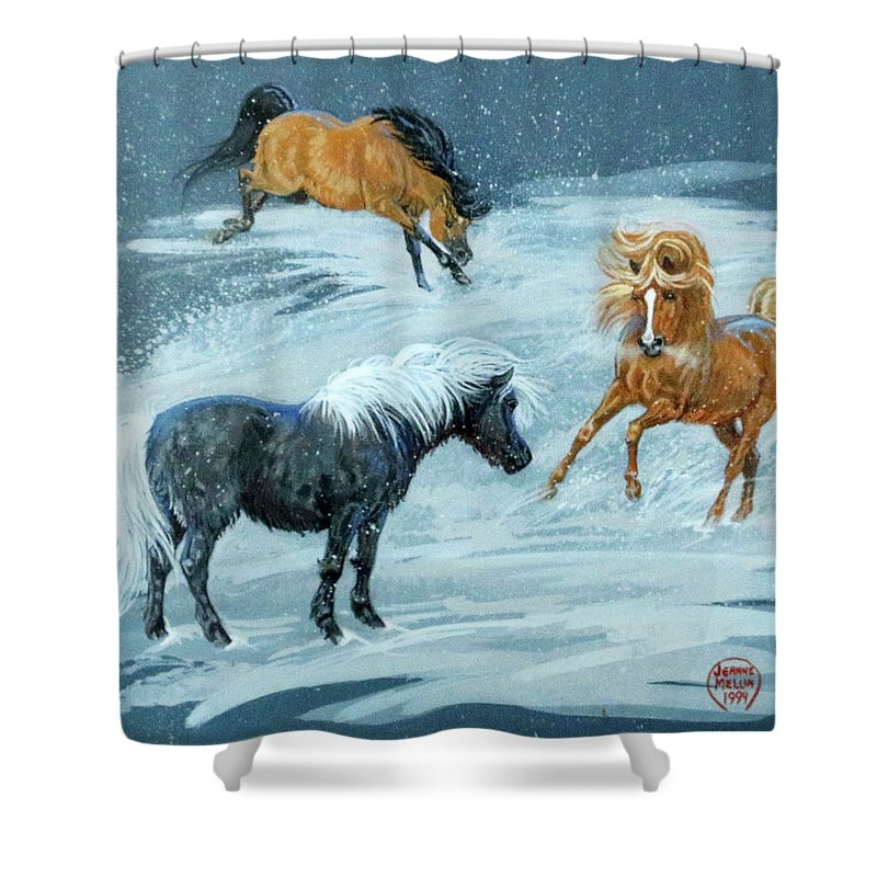 Jeanne Mellin Shower Curtain featuring the painting #9 - Ponies In Snow by Jeanne Mellin Herrick