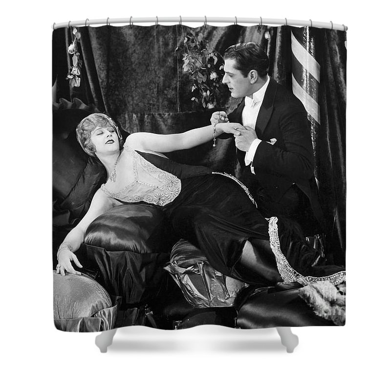 -one Man One Woman- Shower Curtain featuring the photograph Silent Still: Man & Woman by Granger