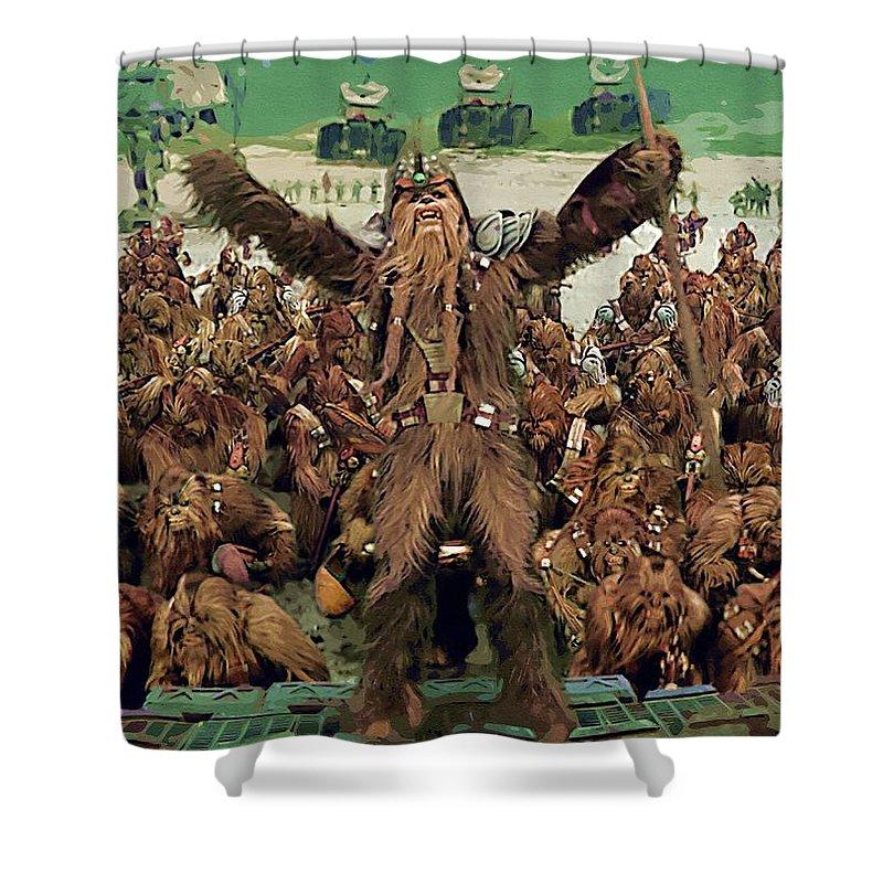 Star Wars Helmet Shower Curtain featuring the digital art Star Wars For Poster by Larry Jones