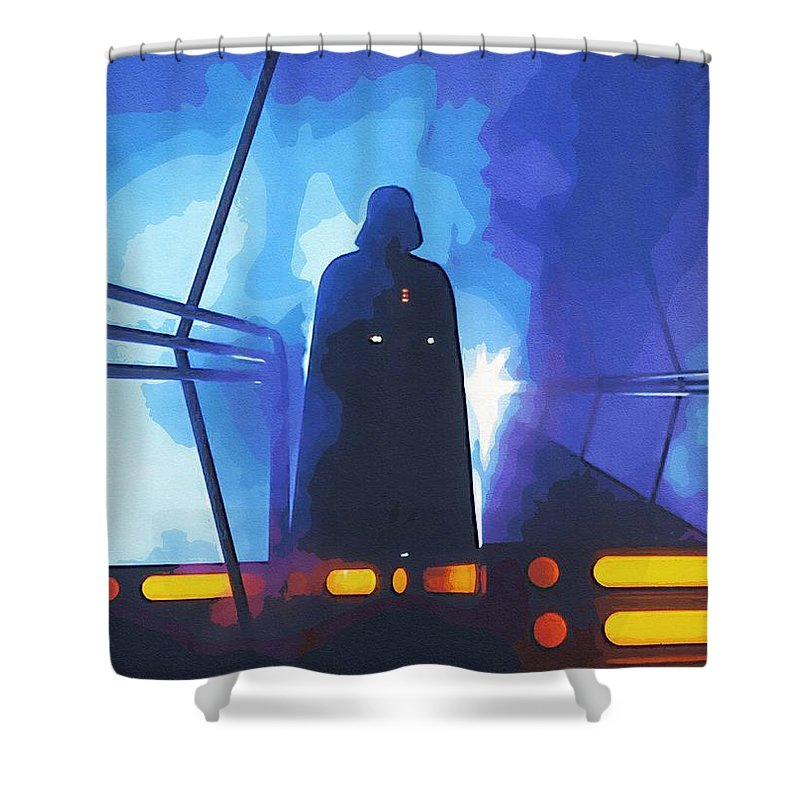 Star The Clone Wars Wars Shower Curtain featuring the digital art Star Wars Galactic Heroes Poster by Larry Jones