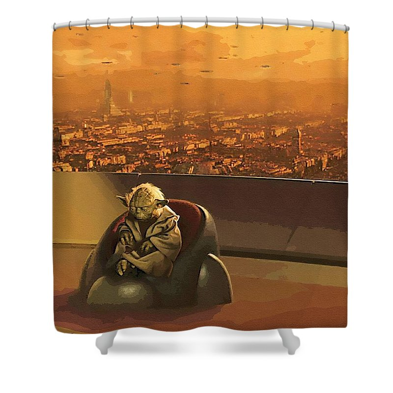 Star Wars 3 Shower Curtain featuring the digital art Star Wars Old Poster by Larry Jones