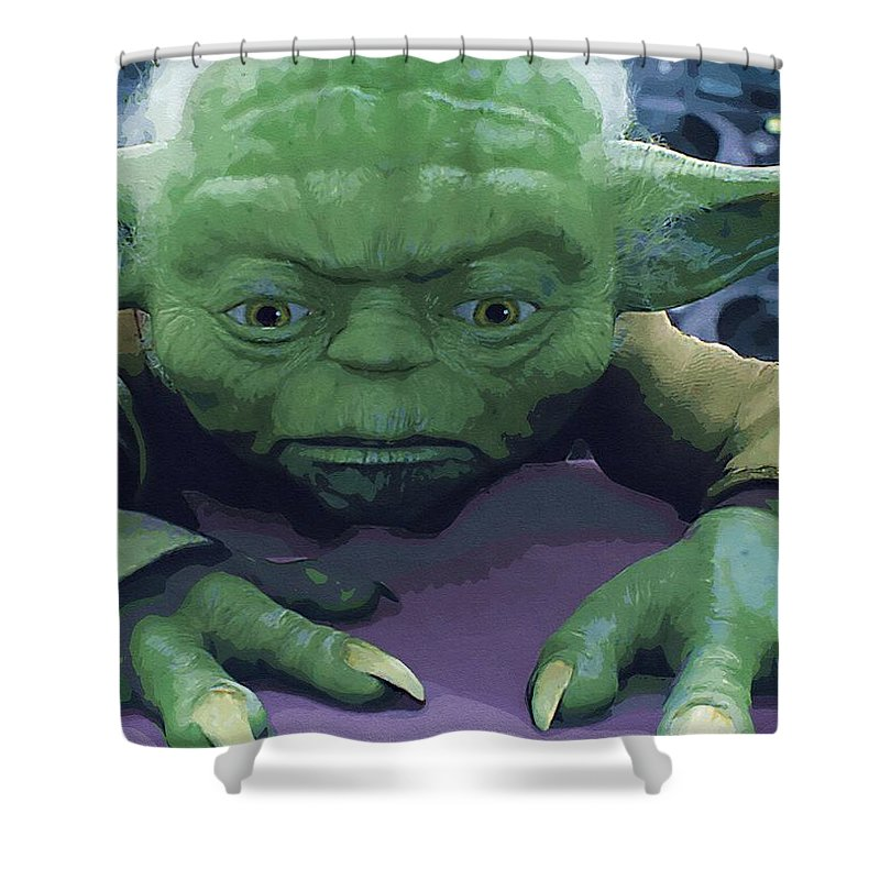 Skywalker Star Wars Shower Curtain featuring the digital art Star Wars The Trilogy Poster by Larry Jones