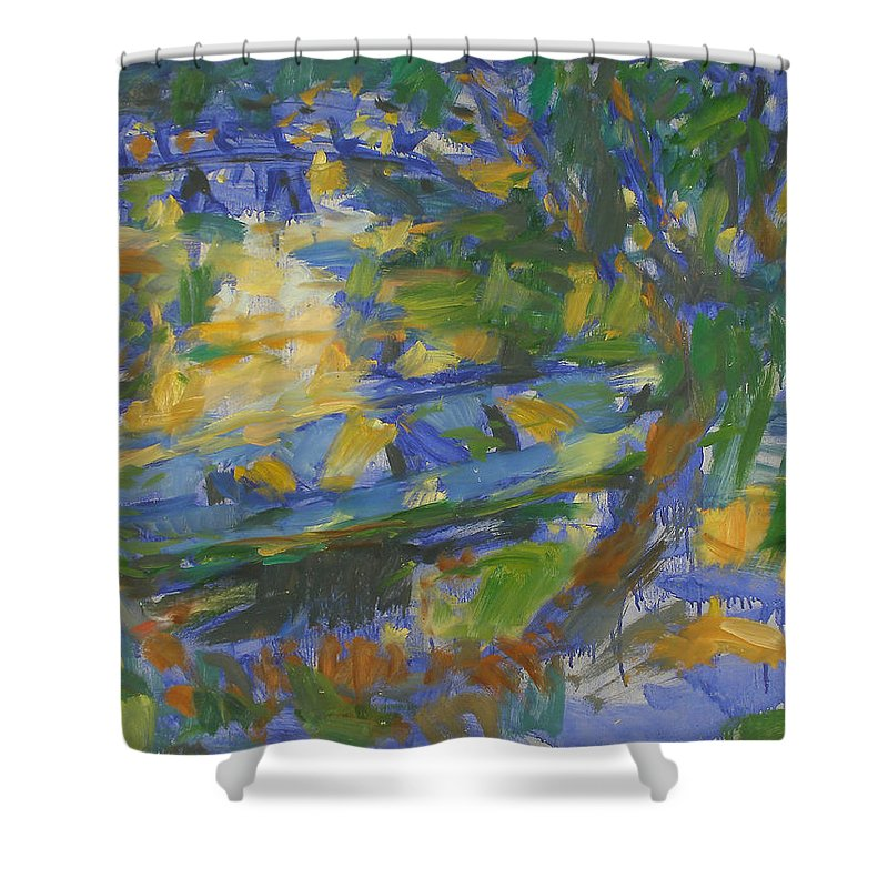 River Shower Curtain featuring the painting Boat by Robert Nizamov