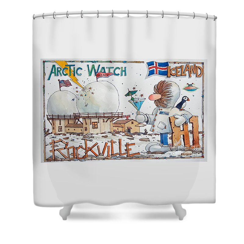 Cartoon Fine Art Print Shower Curtain featuring the painting 932 Acw H1 Rockville by James Williamson