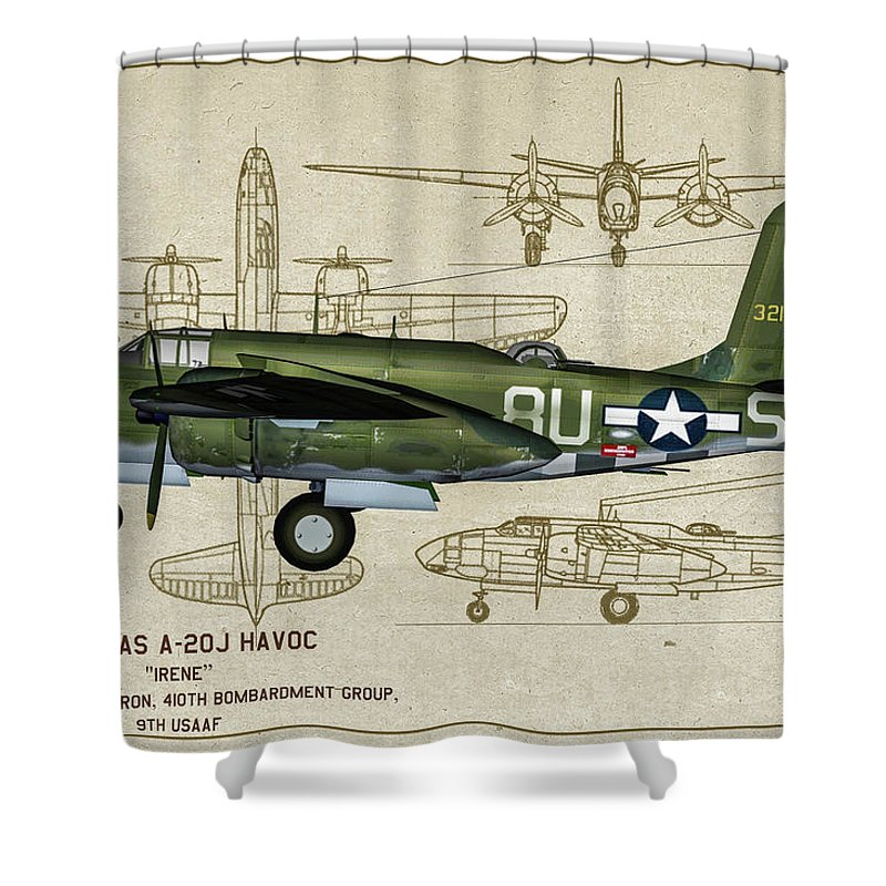 410th Bomb Group Shower Curtain featuring the digital art A-20 Havoc - Irene by Tommy Anderson