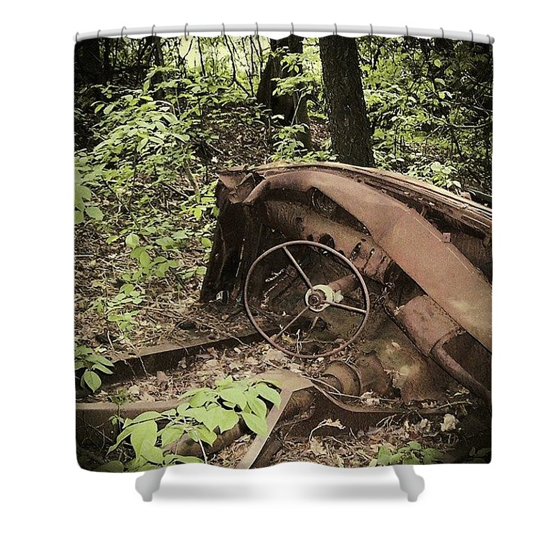 Urban Decay Collection By Serge Averbukh Shower Curtain featuring the photograph Abandoned 50s Classic.... by Serge Averbukh