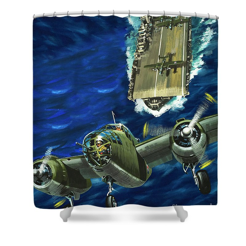A B52 Bomber Takes Off From An Aircraft Carrier Headed For Japan In World  War II Shower Curtain