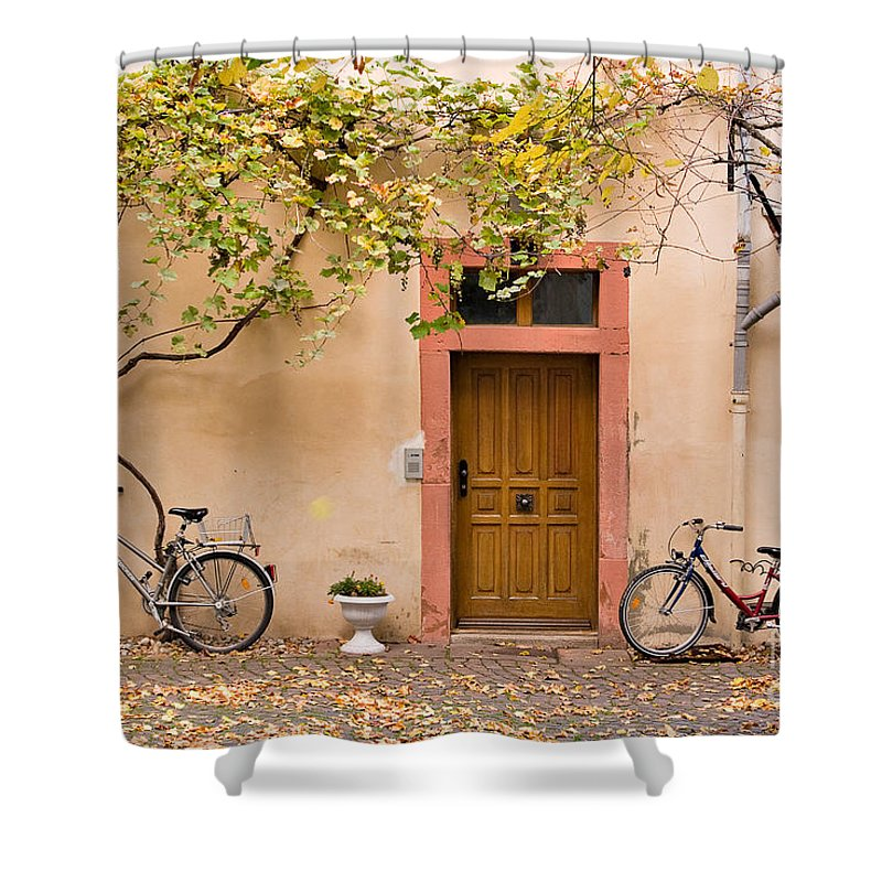 Travel Shower Curtain featuring the photograph A Back Lane In Speyer by Louise Heusinkveld
