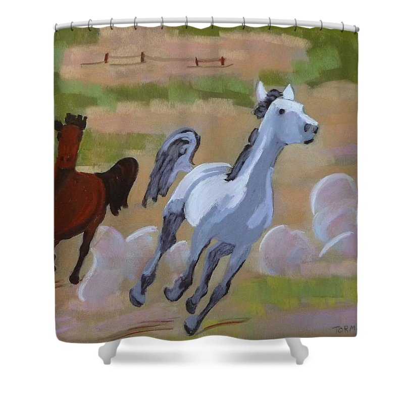 Running Horses Shower Curtain featuring the painting A Bay And A Grey by Susan Tormoen