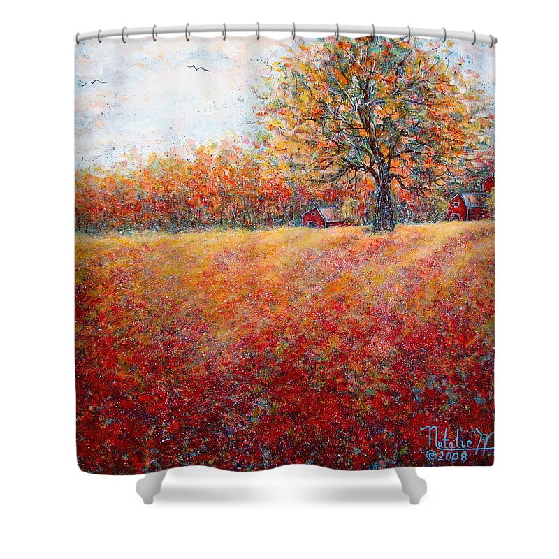 Autumn Landscape Shower Curtain featuring the painting A Beautiful Autumn Day by Natalie Holland