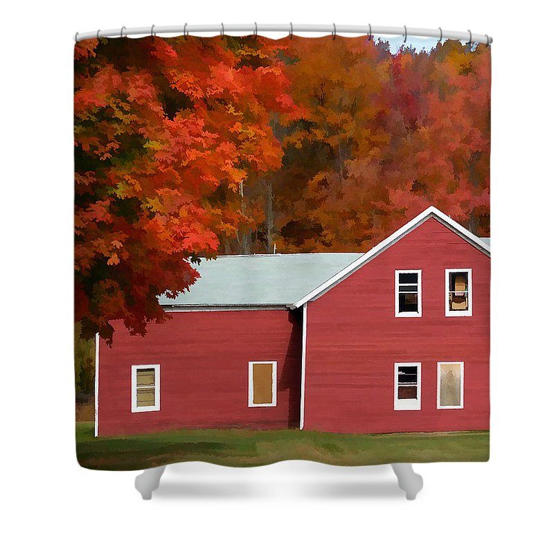 Agriculture Shower Curtain featuring the painting A Beautiful Country Building In The Fall 2 by Jeelan Clark
