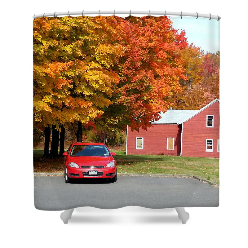 A Beautiful Country Building In The Fall Shower Curtain featuring the painting A Beautiful Country Building In The Fall 4 by Jeelan Clark