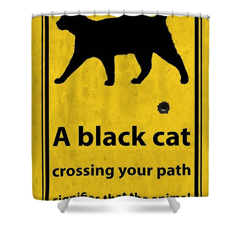 A Black Cat Funny Road Quote And Shoot Shower Curtain For Sale By