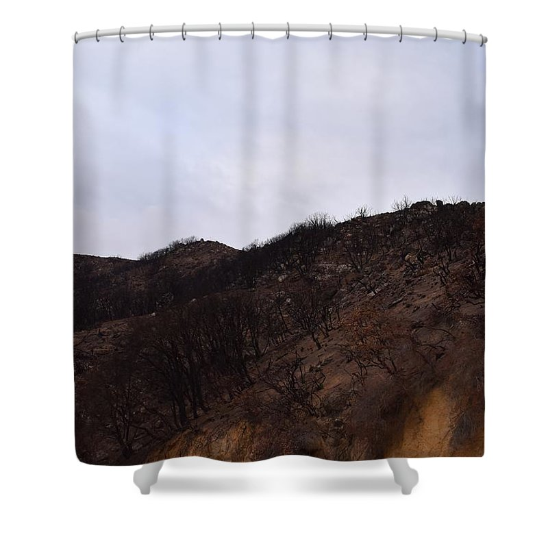 Blue Shower Curtain featuring the photograph A Bleak Burned Slope In The Foothills Of The Southwest Sierra Nevadas by Will Sylwester