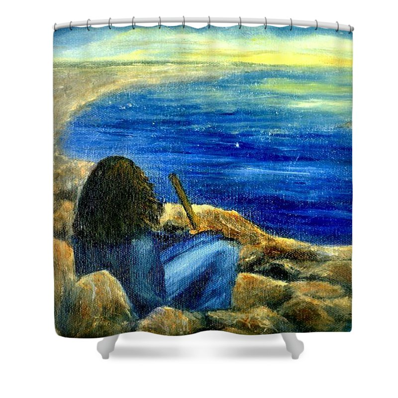 Figure Shower Curtain featuring the painting A Blue Day by Gail Kirtz