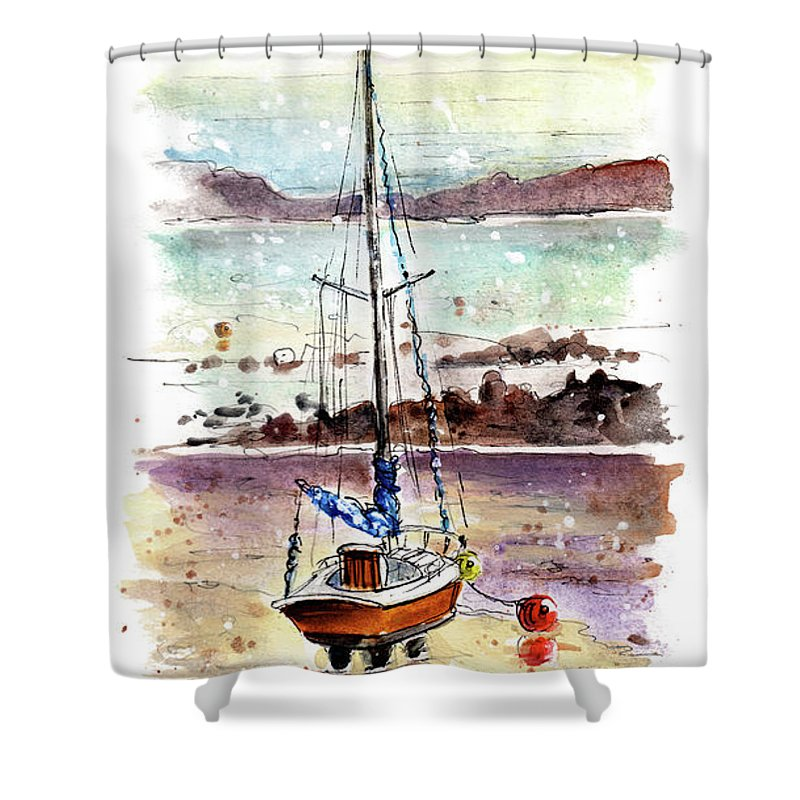 Travel Shower Curtain featuring the painting A Boat On Anglesey 01 by Miki De Goodaboom