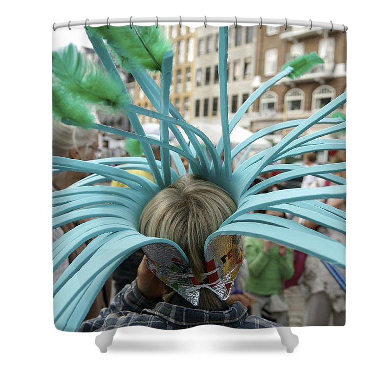 8-10 Years Shower Curtain featuring the photograph A Boy Wears His Homemade Hat by Keenpress