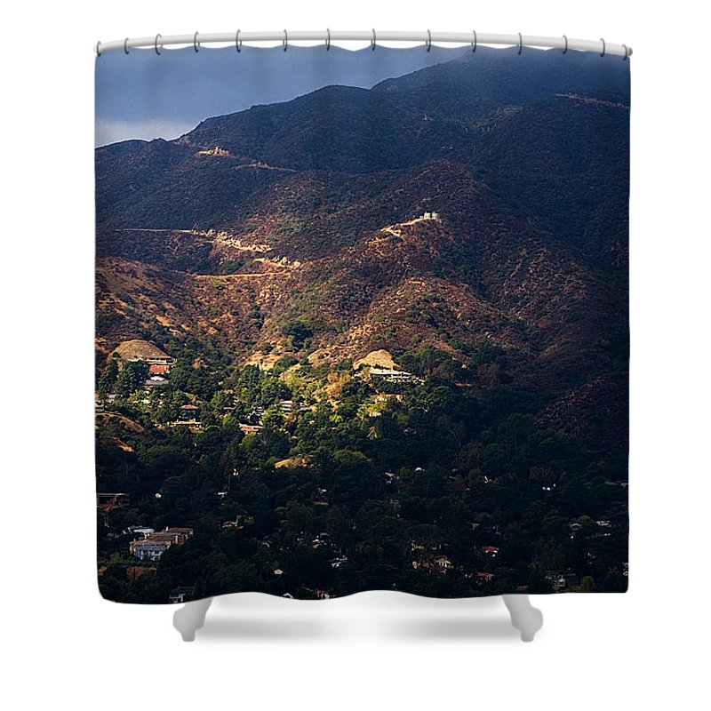Clay Shower Curtain featuring the photograph A Break In The Clouds In Southern California by Clayton Bruster