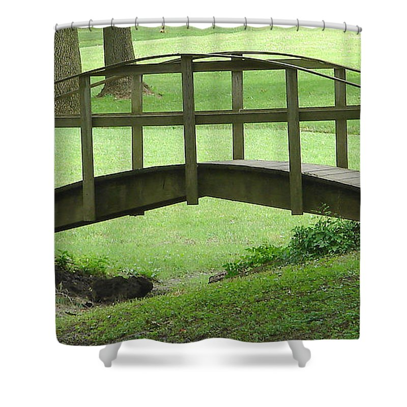 Bridge Green Grass Shower Curtain featuring the photograph A Bridge In Washington County by Luciana Seymour