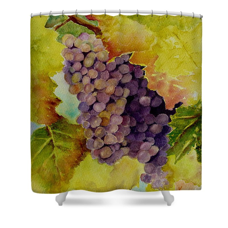 Grapes Shower Curtain featuring the painting A Bunch Of Grapes by Karen Fleschler