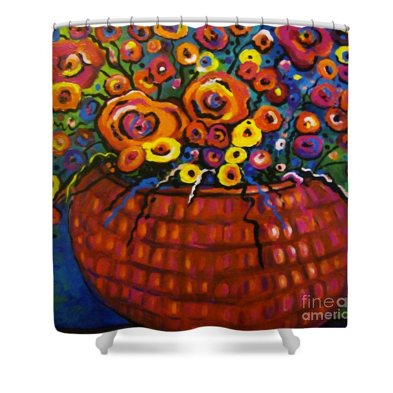 Floral Shower Curtain featuring the painting A Bunch Of Poppies by Sidra Myers