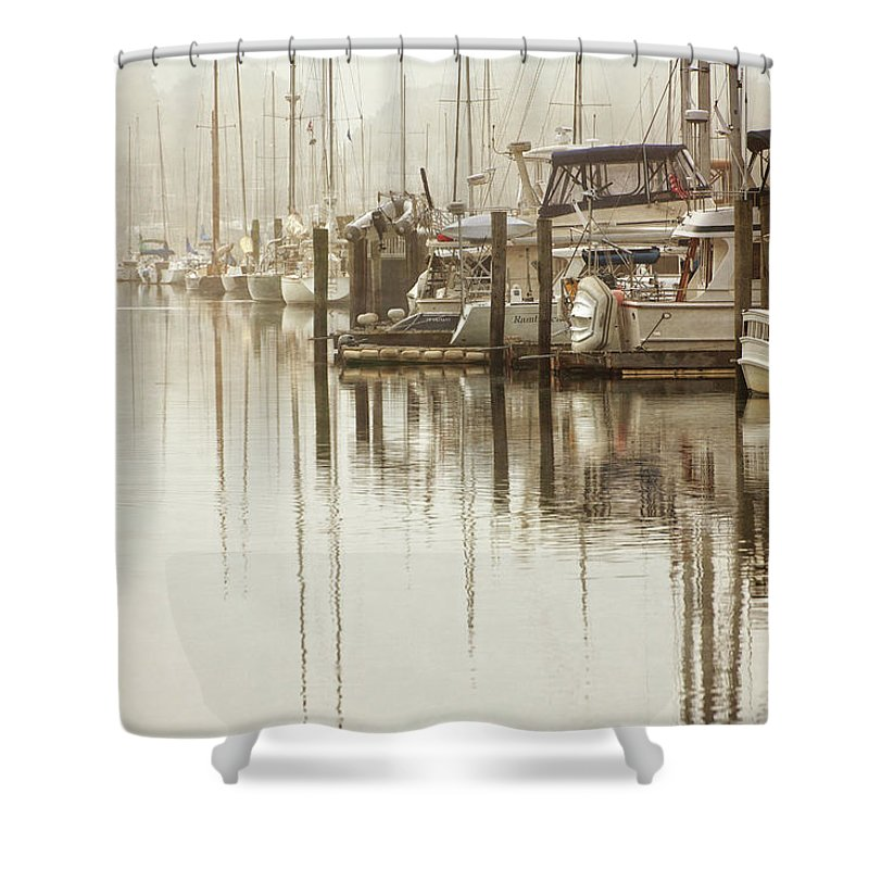 Boats In Harbor Mixed Media Shower Curtains
