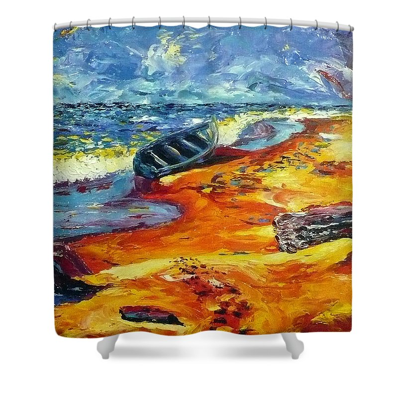 Landscape Shower Curtain featuring the painting A Canoe At The Beach by Ericka Herazo