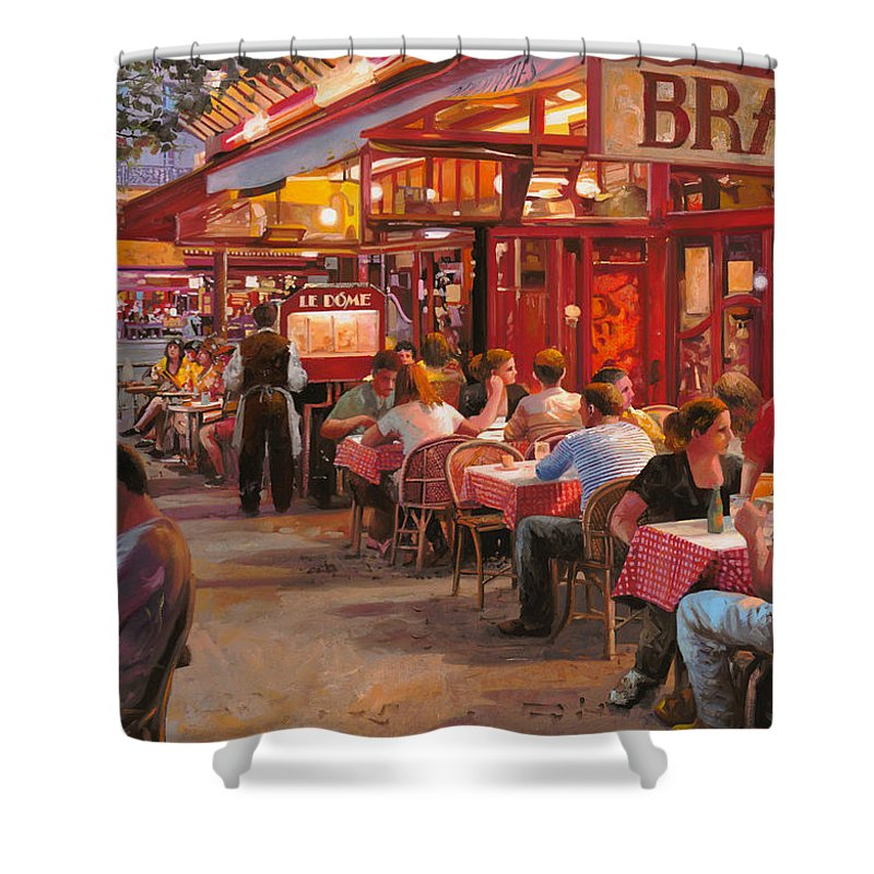 Street Scene Shower Curtain featuring the painting A Cena In Estate by Guido Borelli